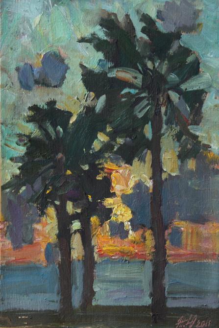 Живопись морской пейзаж масло пальмы