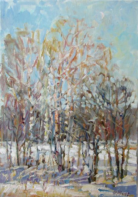 Живопись зимний пейзаж масло у ручья