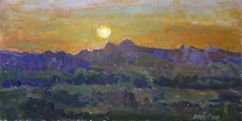 Живопись горный пейзаж масло закат в